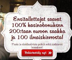 Saat 200% ensitalletusbonuksen 200 euroon asti!