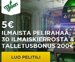 Saat 30 ilmaiskierrosta plus 5 € ilmaista pelirahaa
