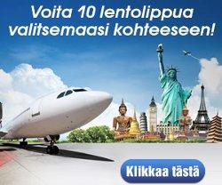 Voita 10 lentolippua valitsemiisi kohteisiin
