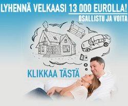 Voita 13 000 euroa velkojen lyhentämiseen