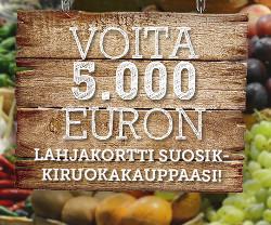 Voita 5.000 € lahjakortti suosikkiruokakauppaasi
