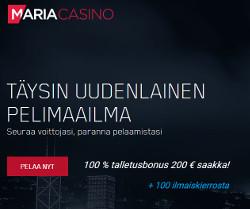 100 ilmaiskierrosta ja 100 % talletusbonus 200 € saakka!
